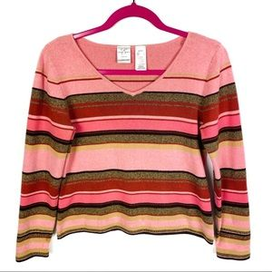 Emma James Striped V-neck Sweater Coral & Brown LP